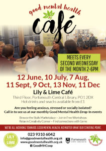 Flyer with dates of future cafe events